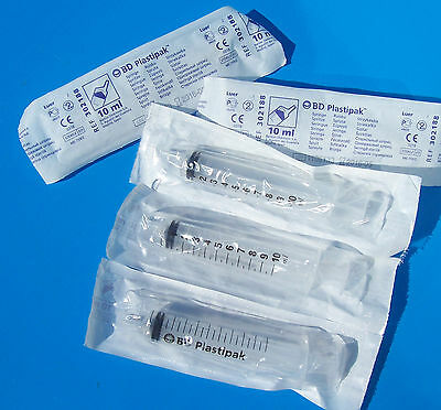 SYRINGES 5 x 10ml new, sealed, non sterile Becton Dickinson syringes ref d008