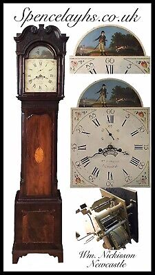 Georgian Mahogany 8 Day Longcase Clock By William Nickossin Newcastle under Lyme