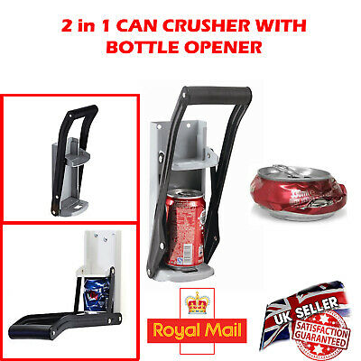16OZ 500ML Wall Mounted Aluminum Can Crusher Bottle Beer Opener Recycling Tool