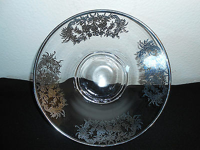 """Lovely Vintage Glass With Silver Inlaid 9"""" Bowl Super Nice Free Shipping!"""