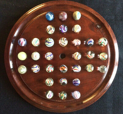 Antique Mahogany Solitaire Board With Marbles