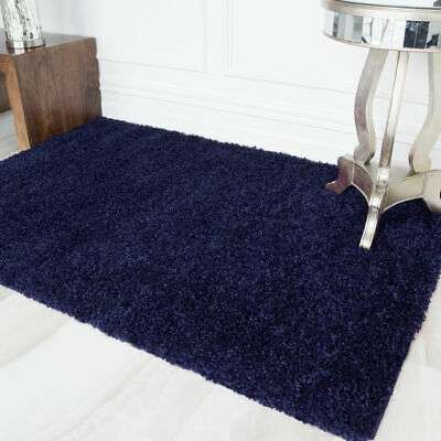 Royal Blue Super Soft Budget Shaggy Rugs Small Large Cheap Non Shed Floor Rug UK