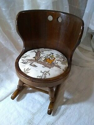 Vintage Child's Wood Barrel Rocking Chair