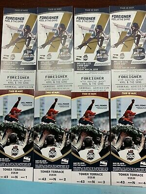 2019 Indy 500 Tickets Tower Terrace Section 43 Row N Seats 1-4 Aisle