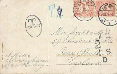 Gb Harlingen To Hull 1910 Taxed One Halfpenny Surcharged