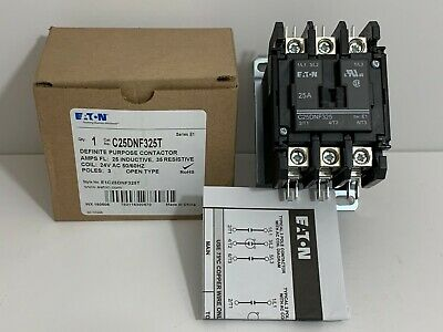 New! Eaton Definite Purpose Contactor C25Dnf325T Coil: 24 Volt 50/60 Hz