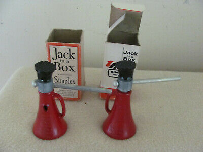 "2 Vintage 3"" Simplex Salesman Sample Screw Type Jack Templeton Kenly & Co"