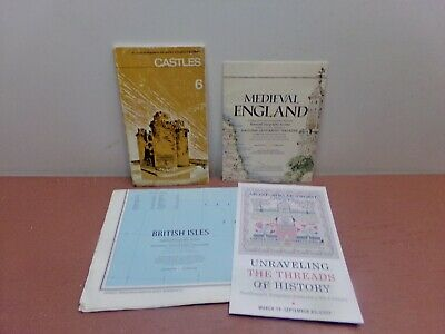 Medieval England~Scotland Map + British Isles Map + Castles Softcover = 3 Items!