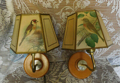 Vintage Pair Wood Sconce Wall Light Lamps Paper Shades with Birds ~FREE SHIP~