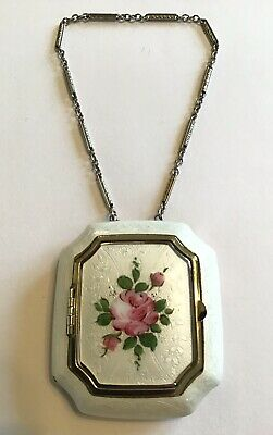 Vintage Antique Guilloche White Pink And Green Enamel Compact Purse