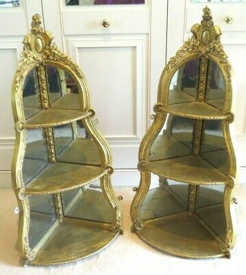 RARE Antique PAIR Large Mid19th Century Gesso Gilded Corner Wall Shelves/Bracket