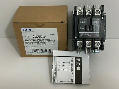 New! Eaton Definite Purpose Contactor C25Dnf325A Coil: 110/120 Vac 50/60 Hz