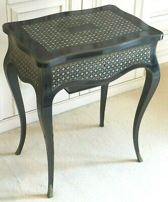 RARE Antique French Boulle Ebonised Brass Mother of Pearl Inlaid Table – TAHAN?