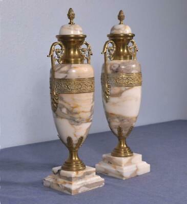 """*16"""" Pair of Antique French Neoclassical Marble & Bronze Urns"""