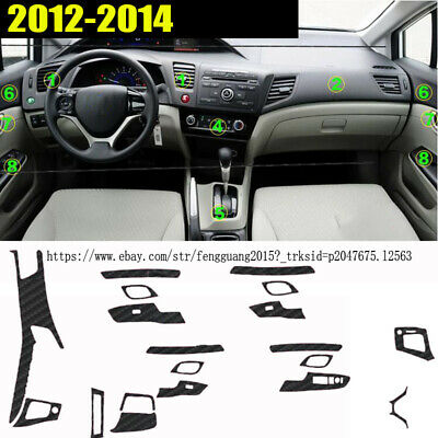 Carbon Fiber Pattern Car Interior DIY Decals Trim for 2012-2014 Honda Civic 9th