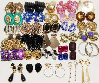 32Pair Vintage 80's Earrings Lot MASSIVE Colorful STATEMENT Bling Fun