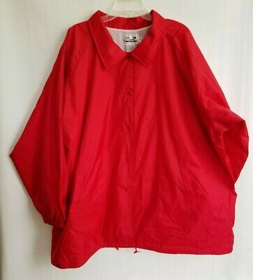Serlna Sport Mens Coach Jacket Red Snap Front Lined Drawcord Hem Pockets Size 5X