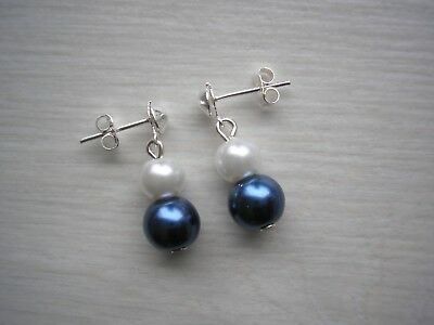 Two Pearl Drop Stud Earrings for women girls Bridal Bridesmaids Wedding gift E8A