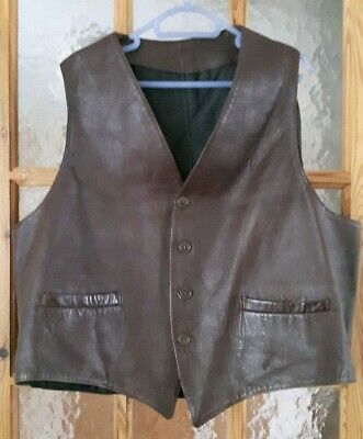 Vintage Burgundy Brown Leather Biker Country Western Casual Vest Waistcoat 50""