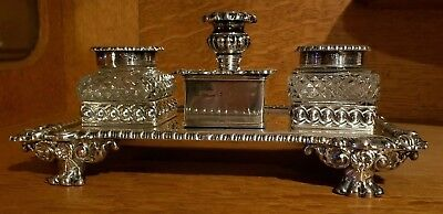 antique sterling silver inkwell square crystal heavy complete 1800s Desk set