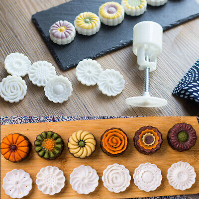 Baking Pastry Fondant Round Flower Mooncake Mold Hand Pressure Cookies Cutter