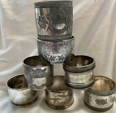 Antique Victorian Etched Monogram Silverplate Silver Plate Napkin Rings LOT Of 7