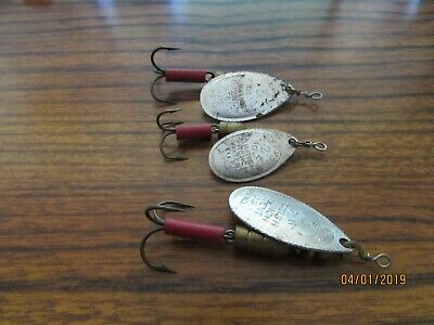 Vintage Old Antique Fishing Lure Lot 3 Spinner Mepps France Silver Aglia 2 and 3