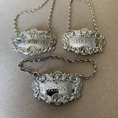 3 x Vintage Silver Plated Decanter Labels - Whisky, Brandy & Sherry