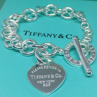 Sterling Silver Pulsera Cierre PASADOR CORAZÓN AG 925 Genuine Tiffany & Co. bag