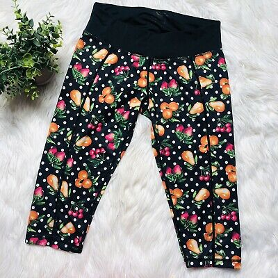 34d9890fce5a7d Betsey Johnson Performance Black Fruit workout active crop pants legging  Size SM