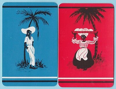 2 Single VINTAGE Swap/Playing Cards CARIBBEAN PEOPLE MAN LADY PALM TREE Blue/Red