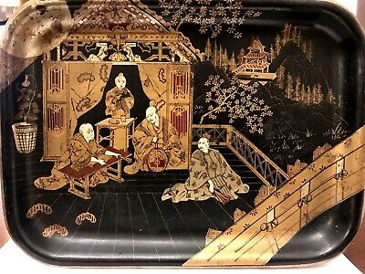 Antique French Papier Mache Chinoiserie Hand painted Gilt TRAY Japonaise