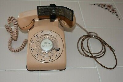 Vintage ROTARY DIAL DESK PHONE by Western Electric w/ Shoulder Cradle & Wire