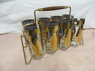 Vintage 1960s Set of 8 Drinking Glasses / Tumblers in Metal Carrier -Mid-Century