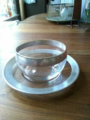 Vintage Dorothy Thorpe Sterling Silver Rimmed Mayonnaise Bowl And Plate
