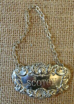 Vintage Sterling Silver English Scotch Decanter Label - Please Read