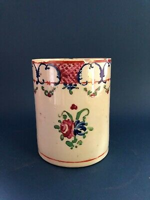 18C Antique Chinese Export Famille Rose Porcelain Cup Mug Stein Tankard