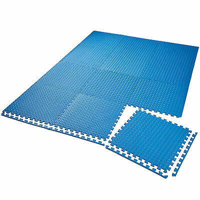 Lot de 12 tapis de protection éléments à emboîter de fitness de gymnastique bleu