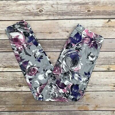 Purple Pink Flower Floral Girl's Toddler Leggings S/M Size 3-5 soft as LLR