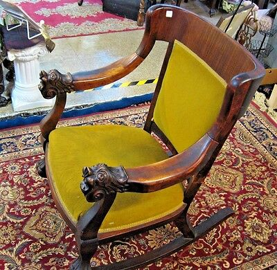 Vintage Antique ROCKING Chair Hand Carved Mahogany Wood LION Arm  Furniture