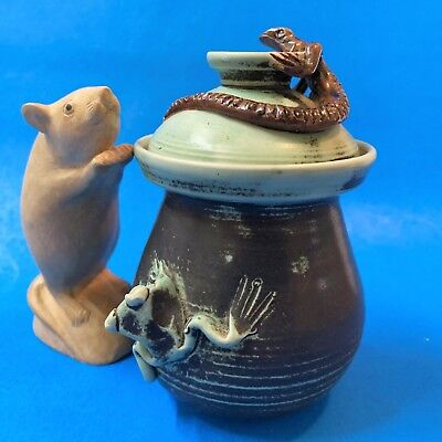 Australian Pottery NT - Lizard & Frog Lidded Pot - 14cm, Signed & Potters Mark