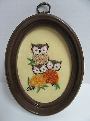 Finished Crewel Embroidery Owl Trio Oval Framed Completed 5.5x7""