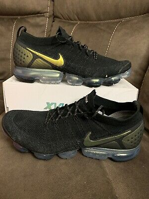 New NIKE AIR VAPORMAX FLYKNIT 2 BLACK MULTI - COLOR 942842 015 SIZE 15 METALLIC