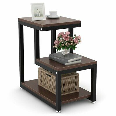 3-Tier Side Table Night Stand with Storage Shelf Metal Frame for Living Room New