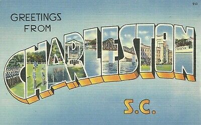 Greetings From Charleston South Carolina Large Letter Linen Postcard