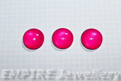 2 x Plain Hot Pink Colour 12x12mm Glass Cabochons Cameo Dome Fuchsia