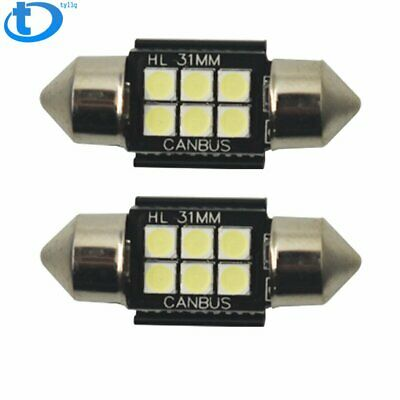"White CAN-bus Bright 6-SMD 1.25"" 31mm Festoon LED Interior Dome Map Light Bulbs"
