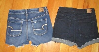Lot of Two Pair of American Eagle Super Stretch Distressed Jean Shorts Size 6
