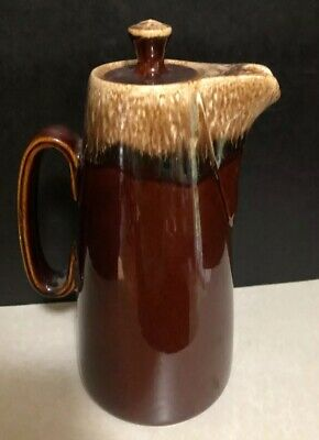 """Vintage Hull USA Pottery 11.5"""" Pitcher Coffee Pot With Lock Lid Brown Drip Glaze"""