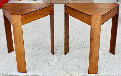 Midcentury Vintage Mission Side Table Pair Oak Patina c. 1960 Sidetables